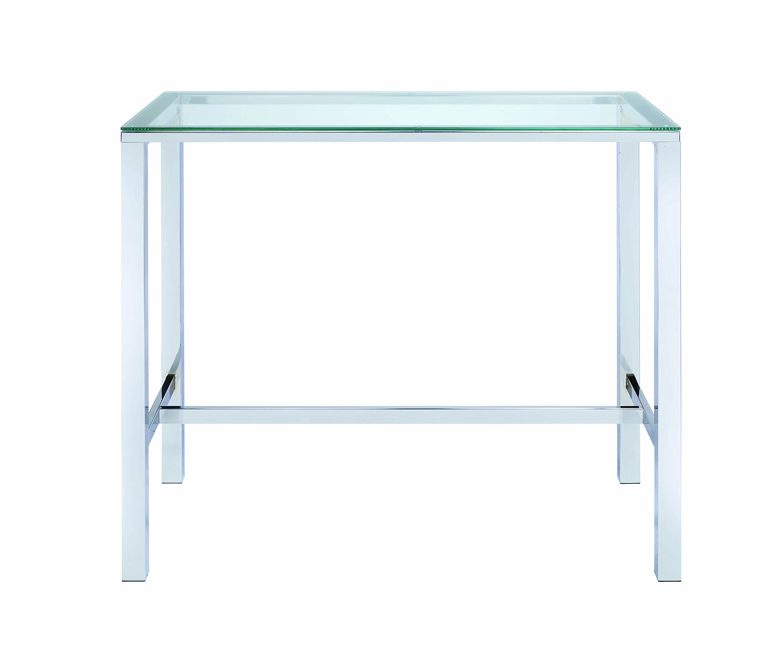 Bar Table with Glass Top Chrome and Clear by Coaster Home Furnishings