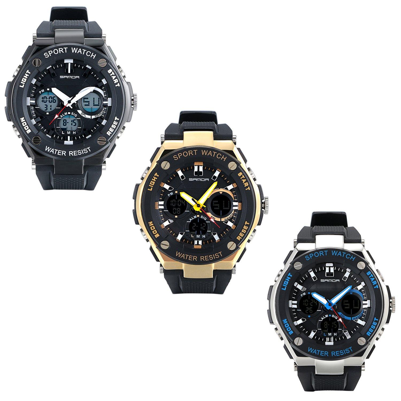 lancardo Niños Reloj De Pulsera Doble tiempo zona Joven Digital Analog Calendario LED Color Resistente al agua Sports Relojes para niños y niñas, negro