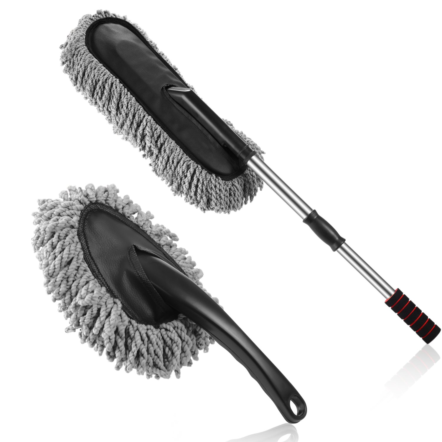 Multipurpose Microfiber Car Duster Brush 2 Pieces Kit with Long Extendable Handle for Car and Home