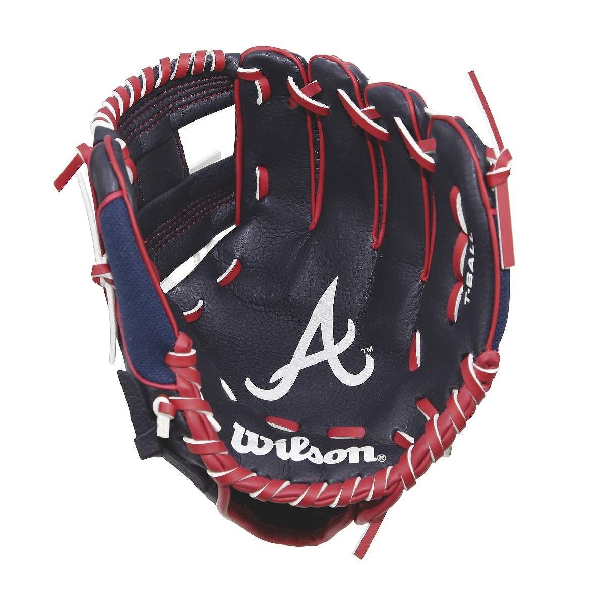 Wilson A200 10'' Atlanta Braves Glove Right Hand Throw, Navy/Red