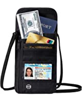 DEW Travel Passport Wallet Stash Hidden Water Resistant Pouch RFID Blocking Wallet for Security Concealed Pocket Pouch Neck Passport Holder