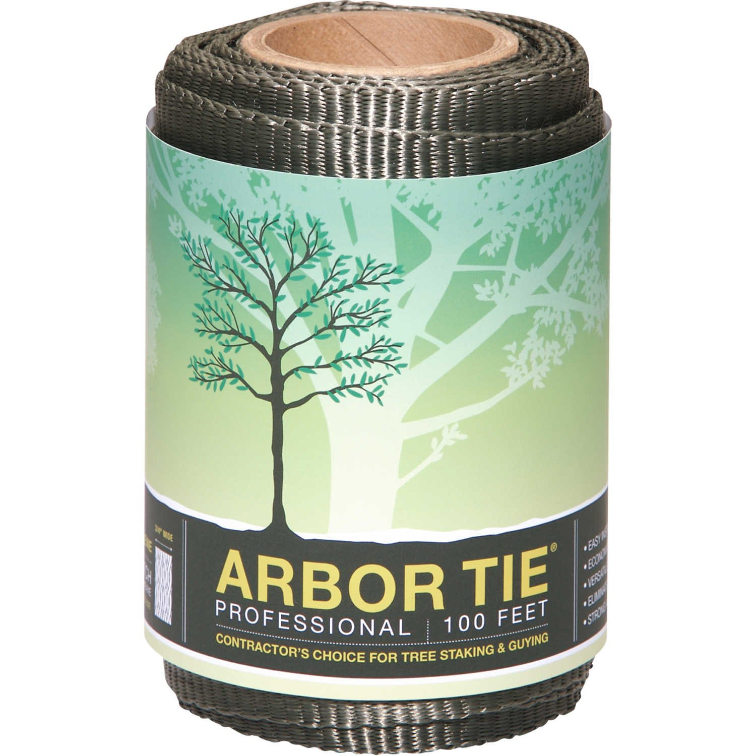 DeepRoot Arbortie Staking and Guying Material, 100-Feet Roll, Olive