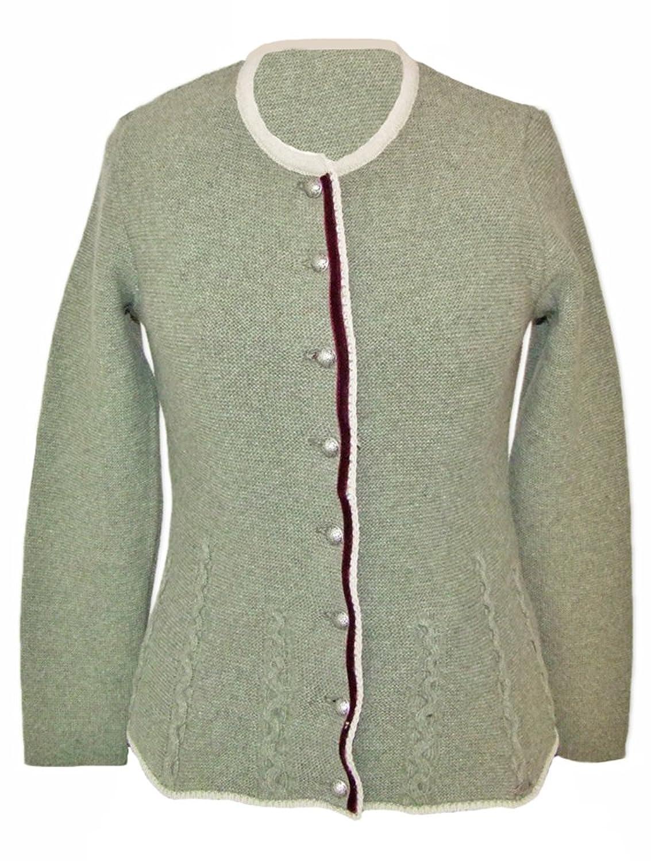 Trachten Strickjacke Nicki Schilf Beige - Hochwertiger Trachten Janker für Damen zum Oktoberfest oder der Kirchweih