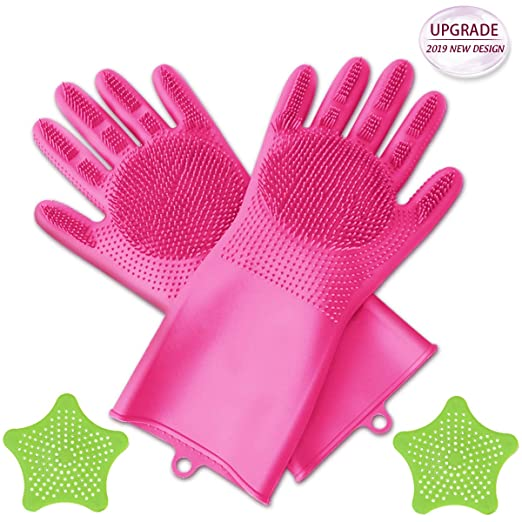 [Upgrade] Silicone Scrubbing Gloves, Dishwashing Cleaning Gloves with 2PCS Sink Strainers 2 in 1 Magic SakSak Reusable Gloves for Kitchen,Car,Bathroom and Moreâ2019 New Design