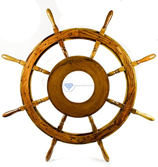 Nagina International Natural Nautical MDF Hub Wooden Pirate's Ship Steering Wheel