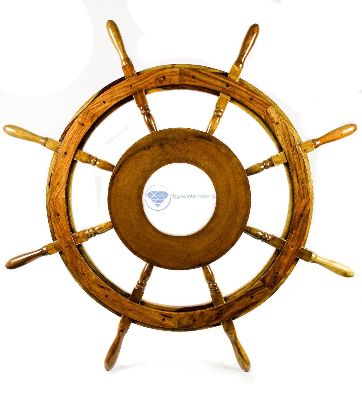 Large MDF Hub Premium Wood Nautical Handcrafted Ship Wheel | Pirates Wall Decor Gift | Nagina International (36 Inches)