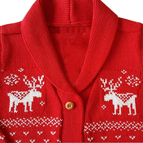 Toddler Baby Boys Girls Christmas Deer Cardigan Knit Sweater Hooded Button-up Wool Coat