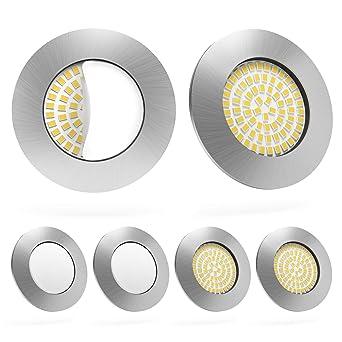 LED Einbaustrahler 6er Set von Scandinavian home | LED Spot  Deckeneinbauleuchte ultra flach Badezimmer geeignet | 5W 500lm 3000K  warmweiß 60-68mm 220 ...