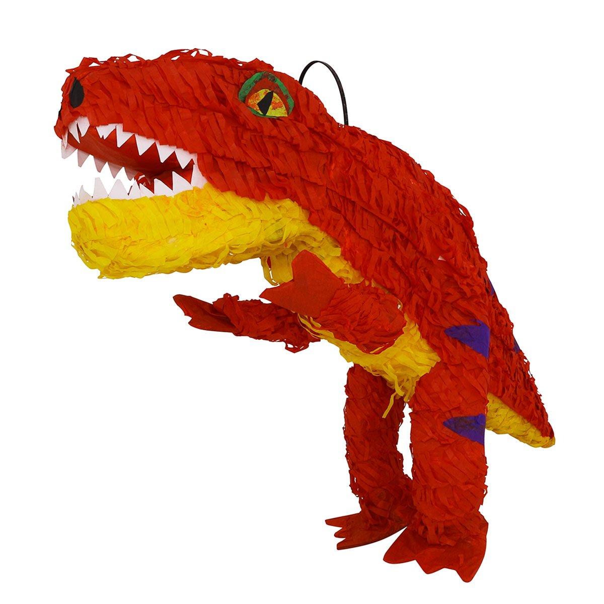 LYTIO – Pinata Full Body Orange Dino T-Rex with Purple Details Dinosaur (Piñata) – Perfect for Tyrannosaurus Dinosaur Archeologist Theme Parties, Décor and Photo Prop. by LYTIO