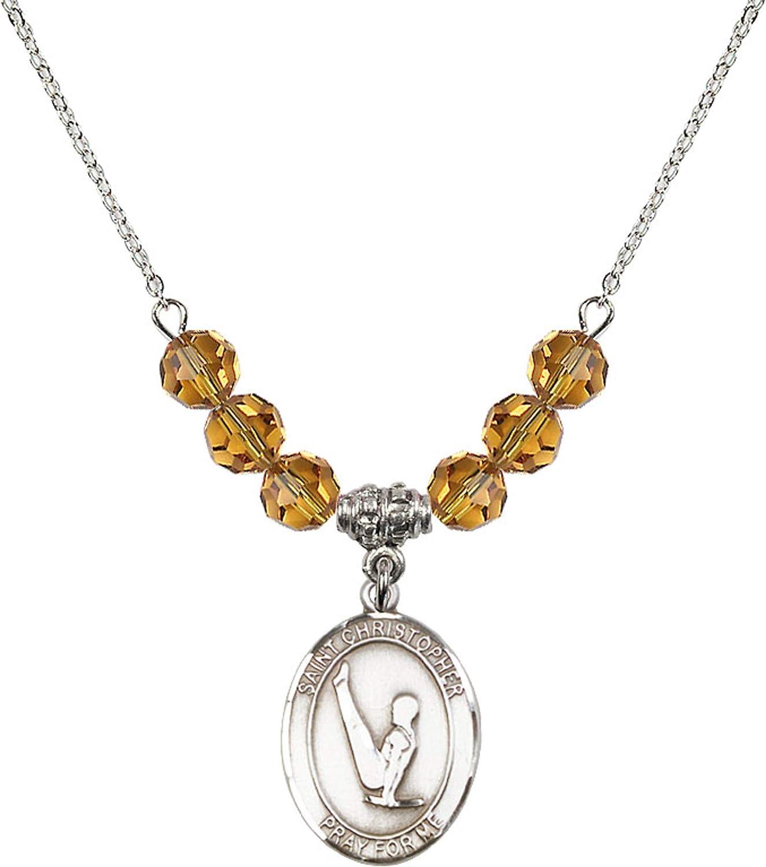 Bonyak Jewelry 18 Inch Rhodium Plated Necklace w// 6mm Yellow November Birth Month Stone Beads and Saint Christopher//Gymnastics Charm