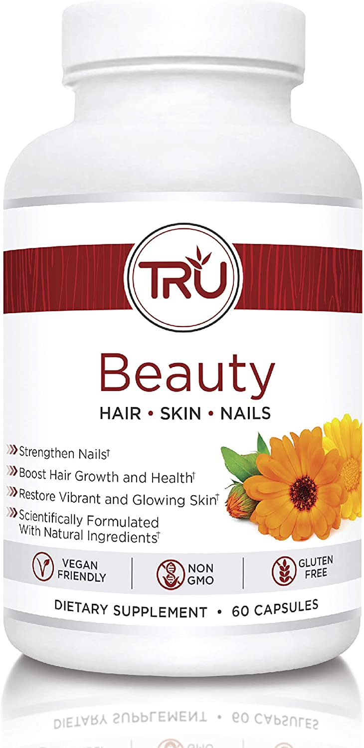 TRU Beauty Glowing Skin – Strong Nails – Healthy Hair Natural Formula with Biotin 6 Clinically Proven Ingredients Vegan and Non-GMO 60 Capsules