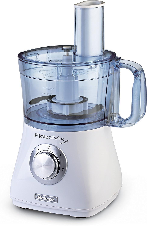 Ariete RoboMix Compact - Robot de cocina (1.2, 2, Plata, Translúcido, Blanco, Giratorio, Batir, Mezcla, Picar, Corte, Amasar, Mezcla, CE, De plástico): Amazon.es: Hogar