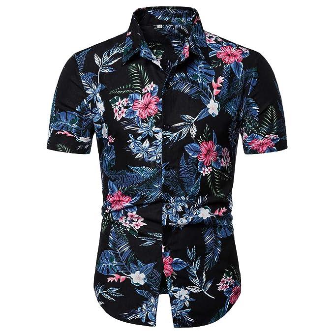 420140aa5c Worsworthy Camiseta de Manga Corta con Estampado de Flores Rojo Playa de  Verano para Hombre Cuello