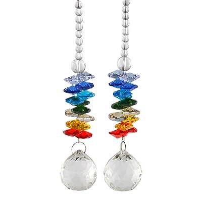SAMYO 30mm Crystal Ball Pendants Hanging Chandelier Prisms Rainbow Maker Octagon Beads Ornaments for Window, Gift (Pack of 2) - WMC-01S : Garden & Outdoor