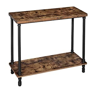VASAGLE ULNT82X Industrial Console Table, 39.4''L x 15.7''W x 31.5''H, Rustic Brown + Black