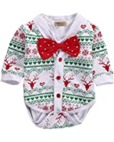 Aalizzwell 3pcs Xmas Outfit Baby Boys Girls My First Christmas Bodysuit Romper Snowflake Pants Hat Outfits