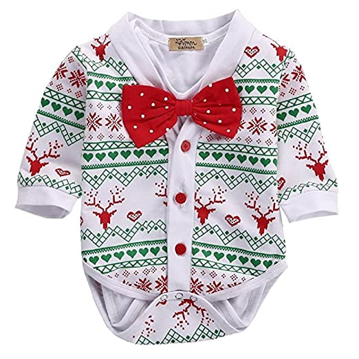 aalizzwell 2pcs christmas baby boy girls deer snowflake coatbowtie white short sleeve romper playsuit