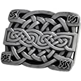 Buckle Rage Men's Celtic Endless Knot Braided Art Design Belt Buckle Black