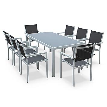 Alices Garden - Comedor de Jardin, Conjunto de Mesa y sillas de Aluminio y textileno - Blanco/Gris - 8 plazas - CAPUA 180