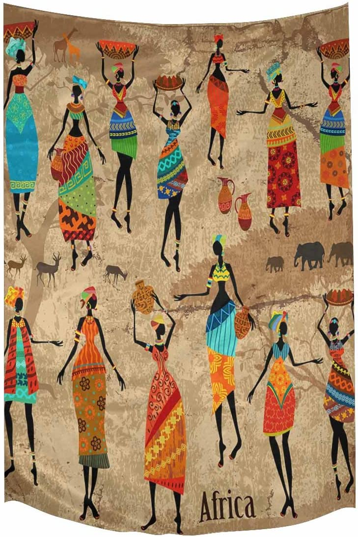 INTERESTPRINT Vintage Tribal Beautiful African American Women with Jugs Tapestry Wall Hanging Hippy Tapestries Beach Throw College Dorm Decor, 60W X 90L Inch