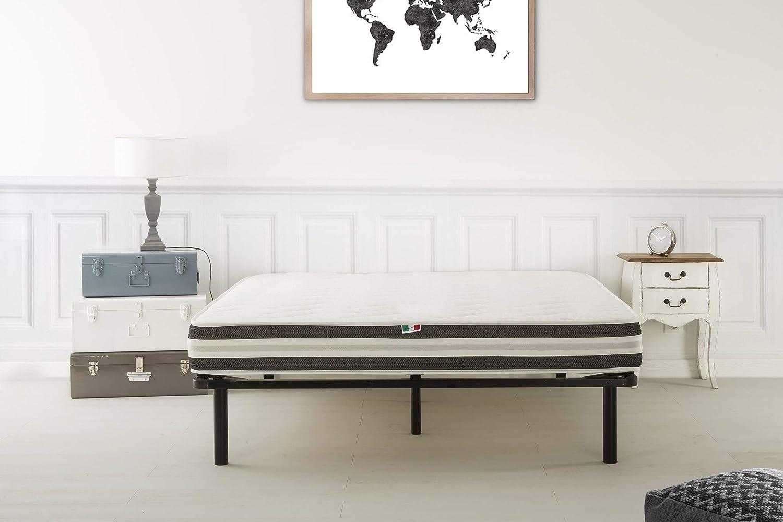Soliving Dream Sommier 180x200 cm Fer Noir AV 6 Pieds