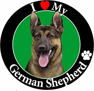 """I Love My German Shepherd"" Car Magnet With Realistic Looking German Shepherd Photograph In The Center Covered In UV Gloss For Weather and Fading Protection Circle Shaped Magnet Measures 5.25 Inches Diameter"