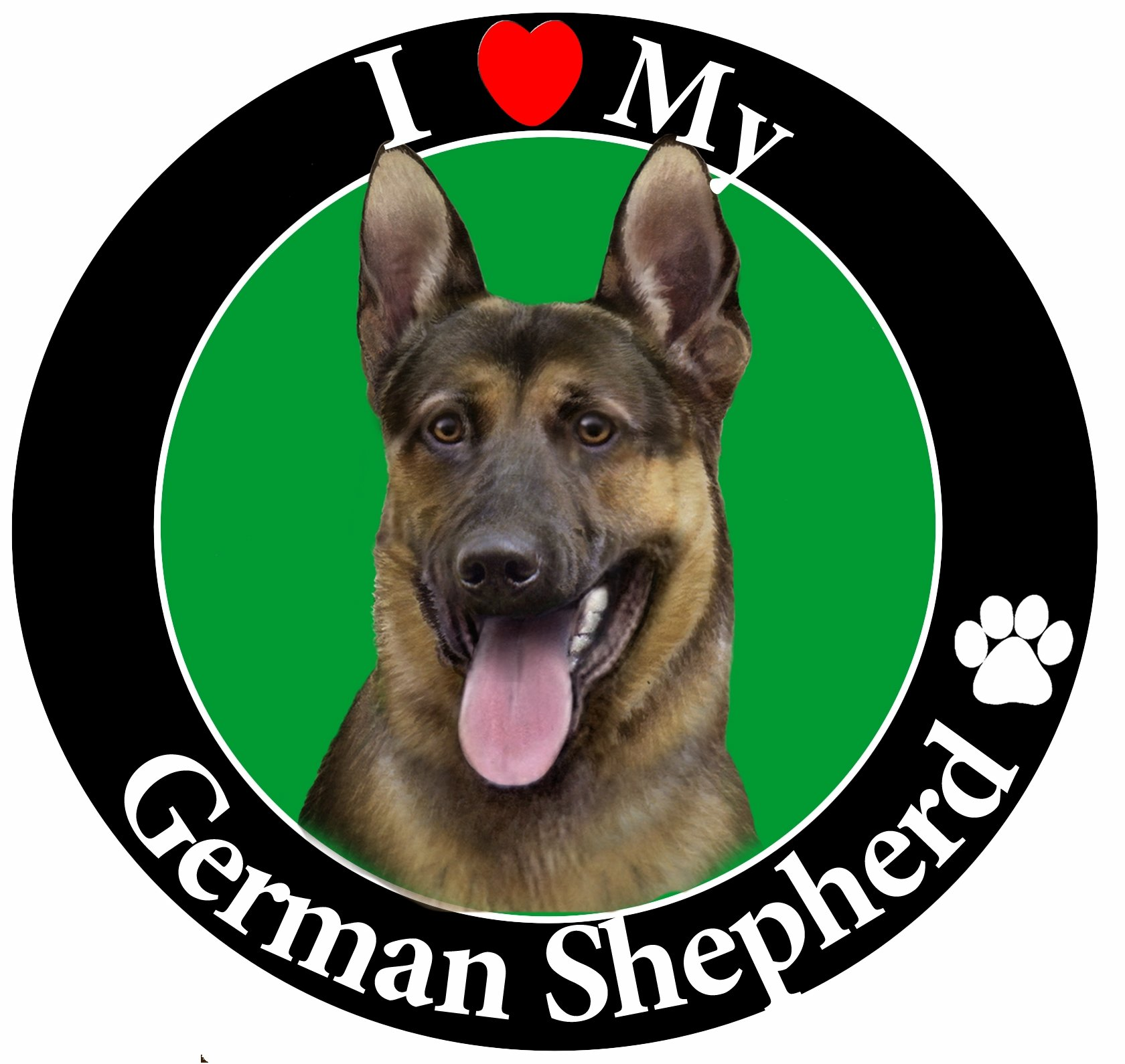 ''I Love My German Shepherd'' Car Magnet With Realistic Looking German Shepherd Photograph In The Center Covered In UV Gloss For Weather and Fading Protection Circle Shaped Magnet Measures 5.25 Inches Diameter