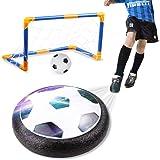 amzdeal Air Football Kit (1 x Hover Ball + 1 Mini Soccer +1 Goal di Calcio +1 Gas Needle),Air Power Hover Ball Gioco Giocattoli con Potente LED Luce e Musica