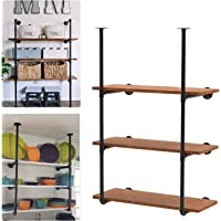 Industrial Wall Mount Iron Pipe Shelving, Rustic Farmhouse Floating Shelf Brackets Black for DIY Open Shelves Bookshelf…
