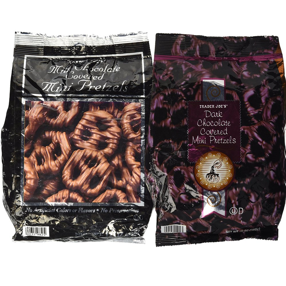 Trader Joes Chocolate Covered Pretzels Variety Pack (2 Bags) Milk Chocolate and Dark Chocolate