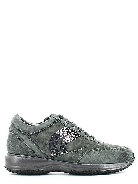 Geox D HAPPY A Scarpe da Ginnastica Basse Donna amazon shoes grigio Pelle