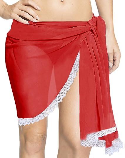 "63ebe805ff LA LEELA Sheer Chiffon Beach Pareo Bath Girl Wrap Sarong Solid  68""X21"" Red_185"