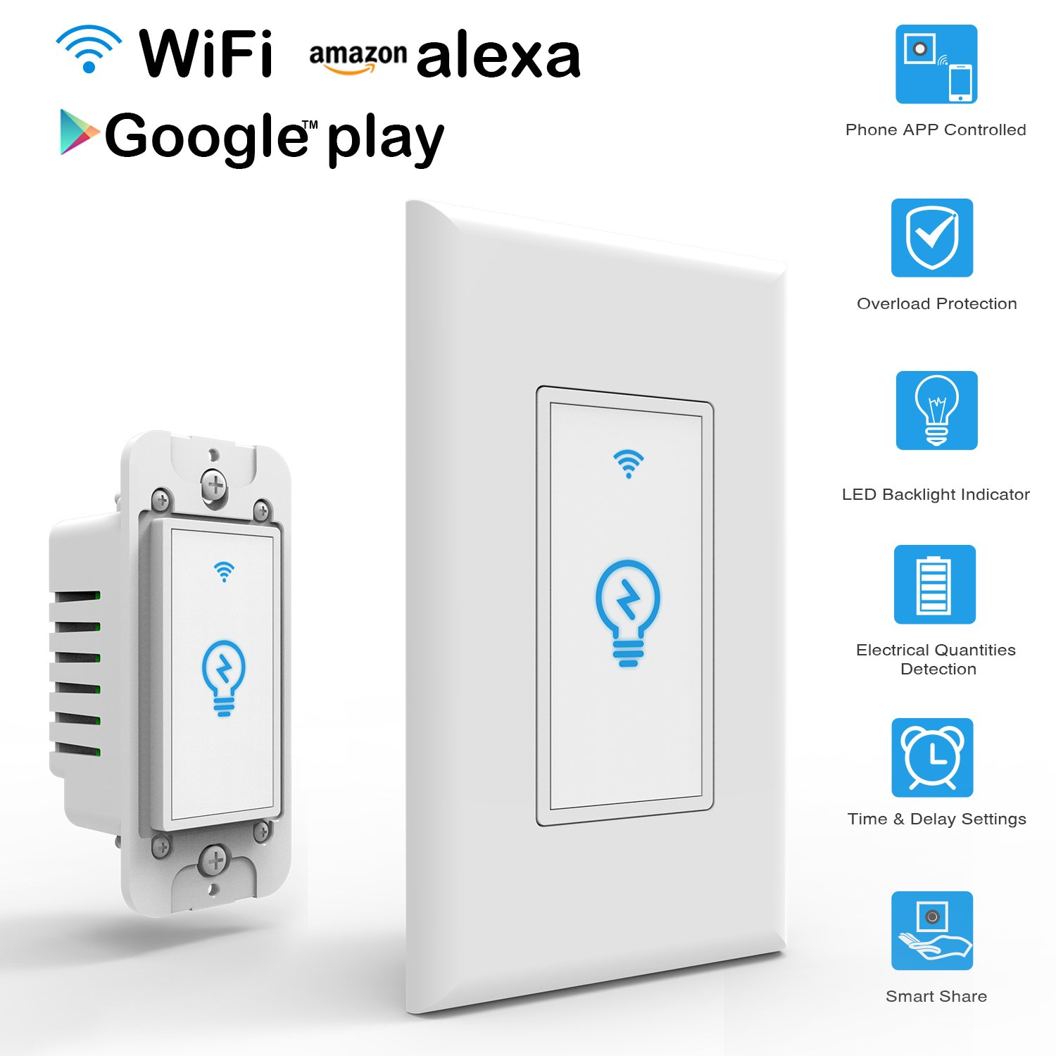 Arvin Light Switch, Work with Alexa In Wall Light Switch Mobile ...