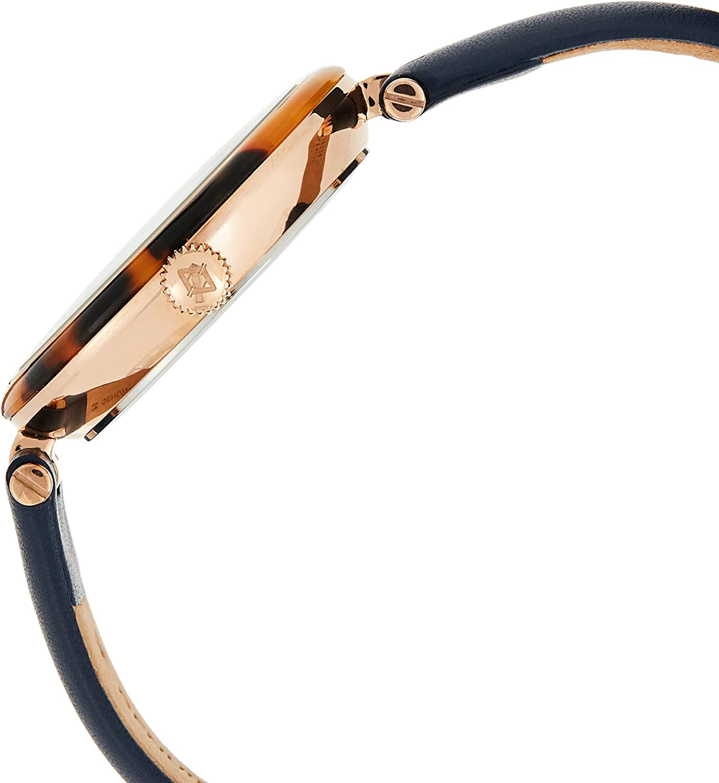 Akribos Swarovski Crystal Markers Watch, Tortoise Shell Bezel, Sunray Dial, Quartz Movement, Comfortable Designer Women's Leather Watch - AK1052 Blue