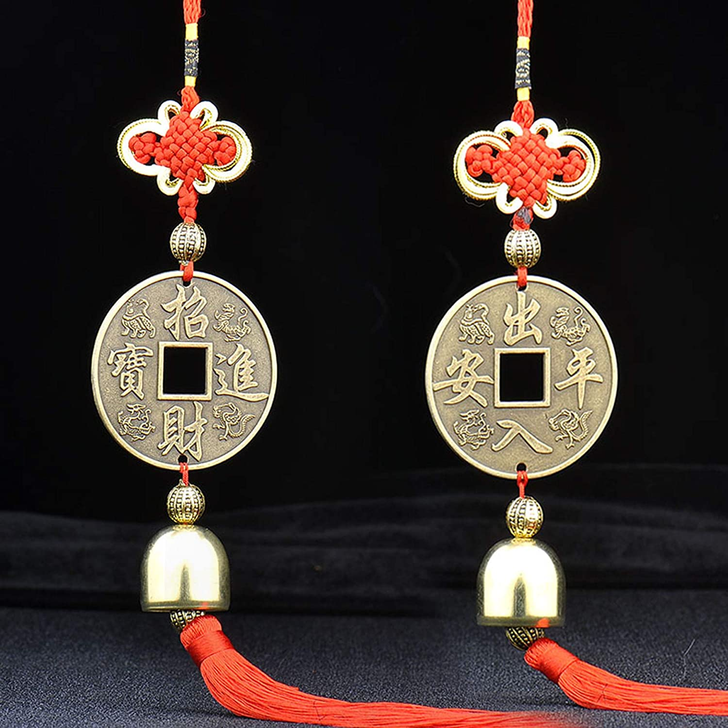Chinese Feng Shui Coins Ornaments Chinese Knot Tassel Lucky Charm Pendants Home Protection Car Decor Pack of 2