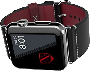 LUXEORA Element Leather Band Strap with Polished Stainless Steel Buckle - 44/42mm - Onyx Black and Red - Compatible with Apple Watch Series 5 4 3 2 1 Sport and Watch Edition