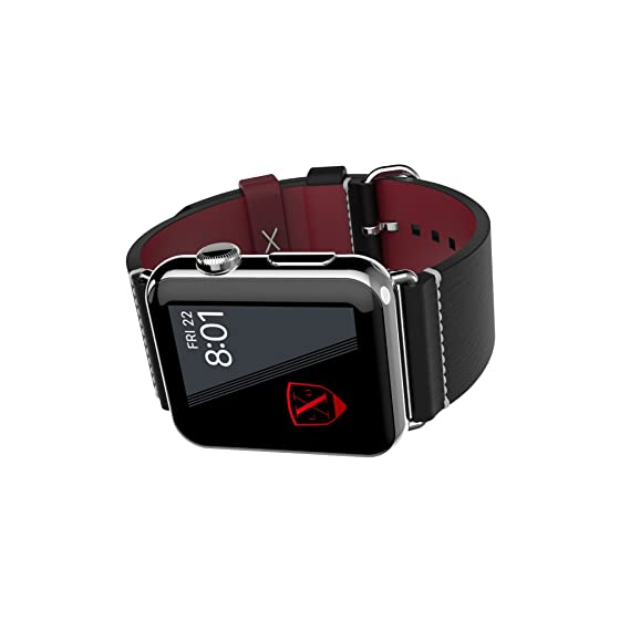 6d1593f200f LUXEORA Element Leather Band Strap with Polished Stainless Steel Buckle -  44 42mm - Onyx