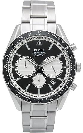 e655b93f92 [エルジン]ELGIN 腕時計 クロノグラフ 日本製ムーブメント オールステンレス ブラック FK1401S-B