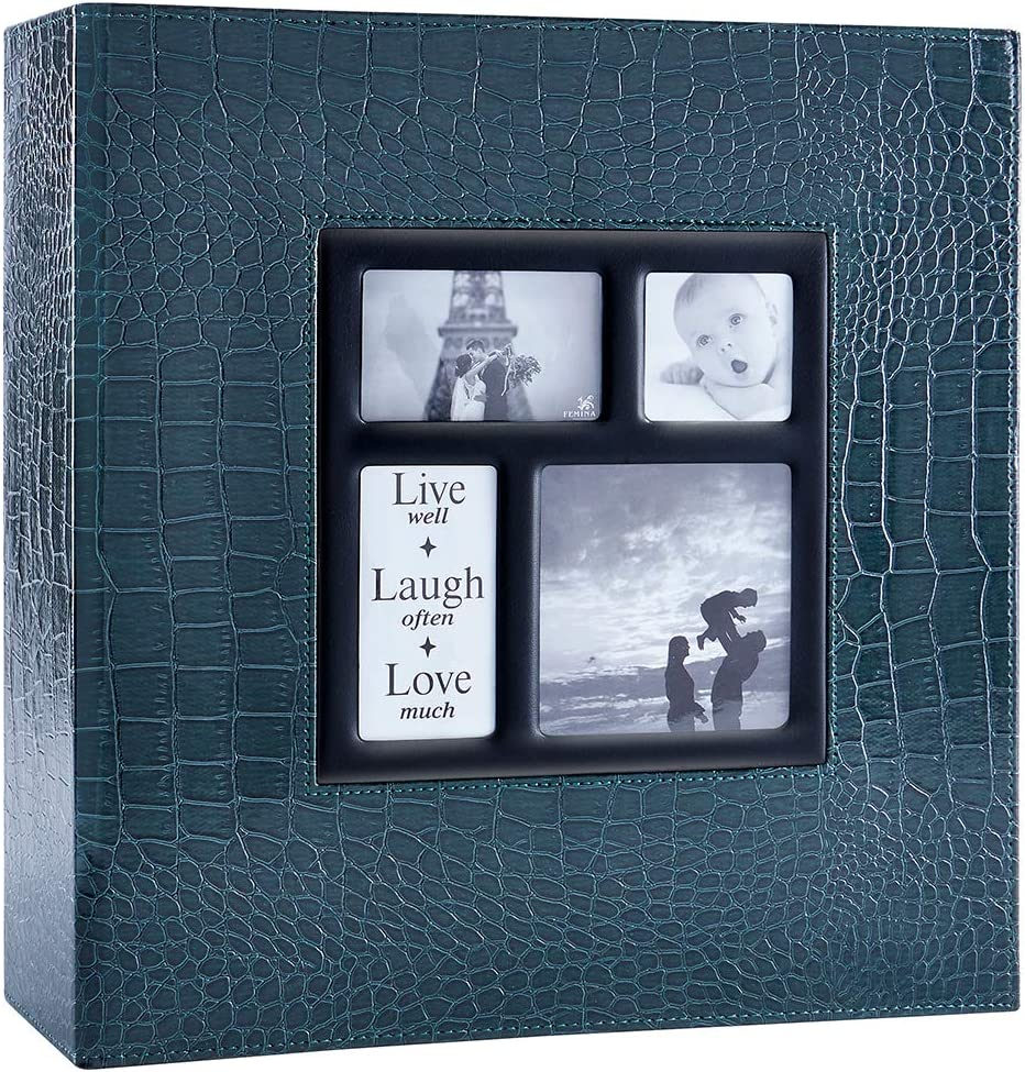 Ywlake Photo Album 4x6 1000 Pockets Photos Croco, Extra Large Capacity Family Wedding Picture Albums Holds 1000 Horizontal and Vertical Photos Green