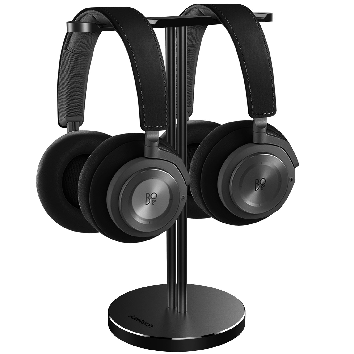 Jokitech Dual Aluminum Headphones Stand Holder - Showcase with Solid Heavy Base and Fits for PS4 Gamer Headsets and All Headphones Black