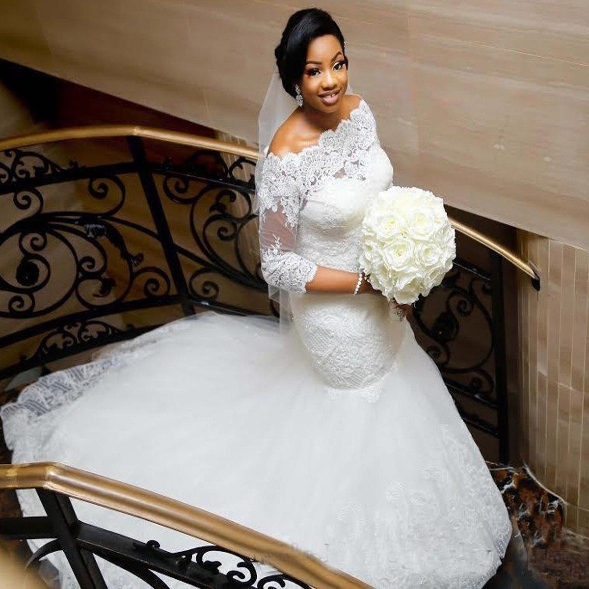 9a9ecca0ffa Yuxin Elegant Plus Size Wedding Dress 2018 Long Sleeves Appliqued Lace  Mermaid Bridal Gowns at Amazon Women s Clothing store