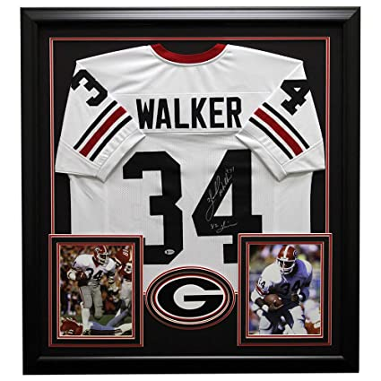 e0268ccbee2 Image Unavailable. Image not available for. Color: Herschel Walker Autographed  Signed Georgia Bulldogs Framed White Custom Jersey ...
