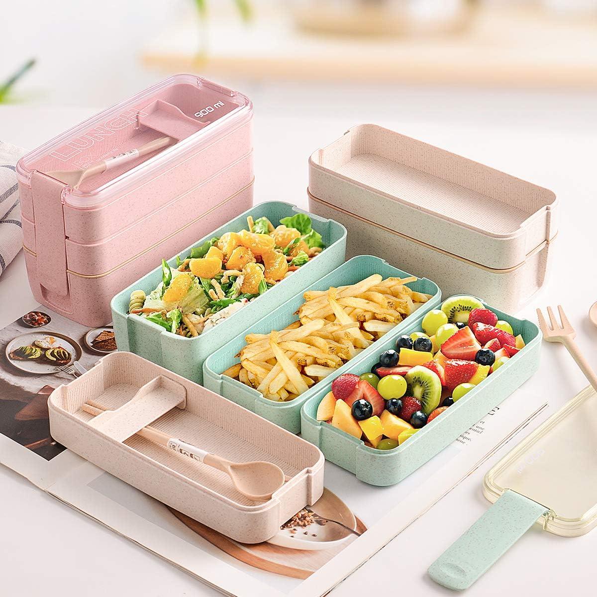 lonchera con utensilios compartimentos 3 en 1 Rosado paja de trigo biodegradable Bento ecol/ógico Caja Hivexagon Bento para ni/ños y adultos