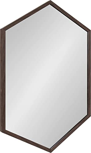 Kate and Laurel Laverty Modern Oblong Hexagon Mirror, 24 x 36, Walnut Brown, Geometric Wall Decor