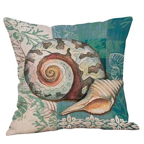 muium Funda de Almohada de Lino algodón Decorativa para el ...