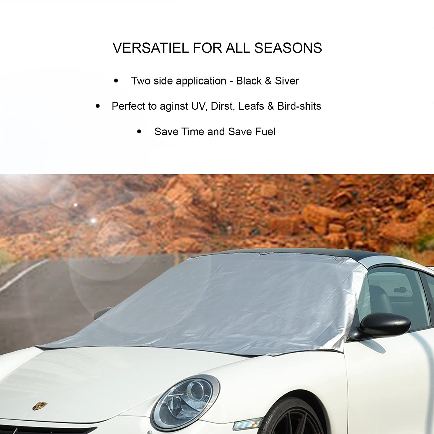 10S No Ice Scraping Waterproof Windproof Durable Material Outdoor Cover Fit All Cars-10 Magnets 58x84 CARADDICTS Windshield Cover Snow Magnetic Shade Ice Frost Dust Rain Resistant