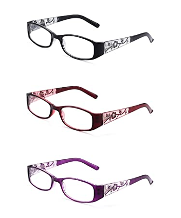5273d9976057 Image Unavailable. Image not available for. Color  JM 3 Pack Ladies Reading  Glasses Vintage Floral Print Rectangular Readers for Women +1.0 Mix