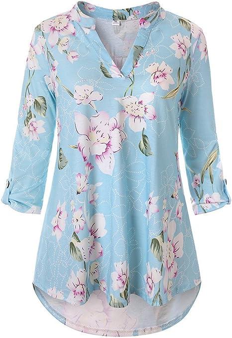 K.W Blusa Floral para Mujer, diseño de Flores Sueltas, Tres Cuartos, Cuello en V, Camisetas de Kingwo, Mujer, KGCAR, Azul Claro, XS: Amazon.es: Deportes y aire libre
