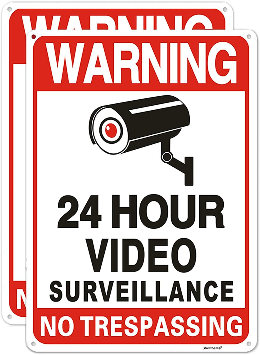 2 Pack No Trespassing Sign, 24 Hour Video Surveillance Signs, Rust-free Aluminum Metal Reflective Sign, Fake Security Camera Sign, Indoor Or Outdoor Use for Home Yard Business CCTV (10 x 7 Inches)
