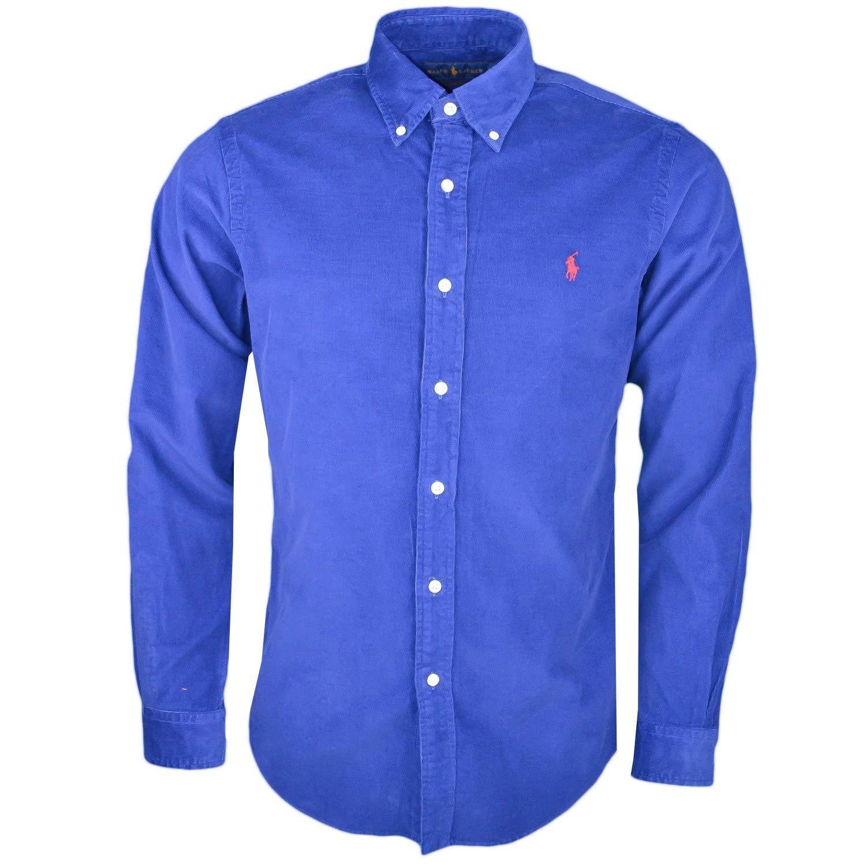 f1315c2414e ... Ralph Lauren Chemise en Velour côtelé Bleu Marine Slim fit pour Homme